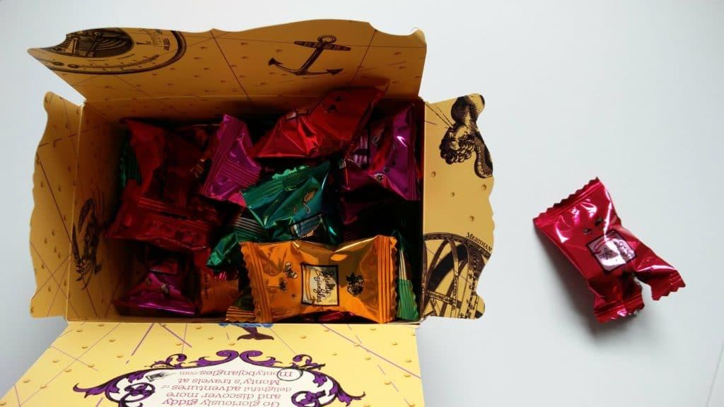 A box of Monty Bojangles chocolates.