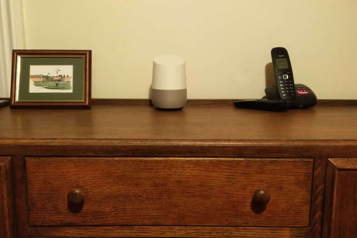 Our Google Home lives on my grandparents' sideboard