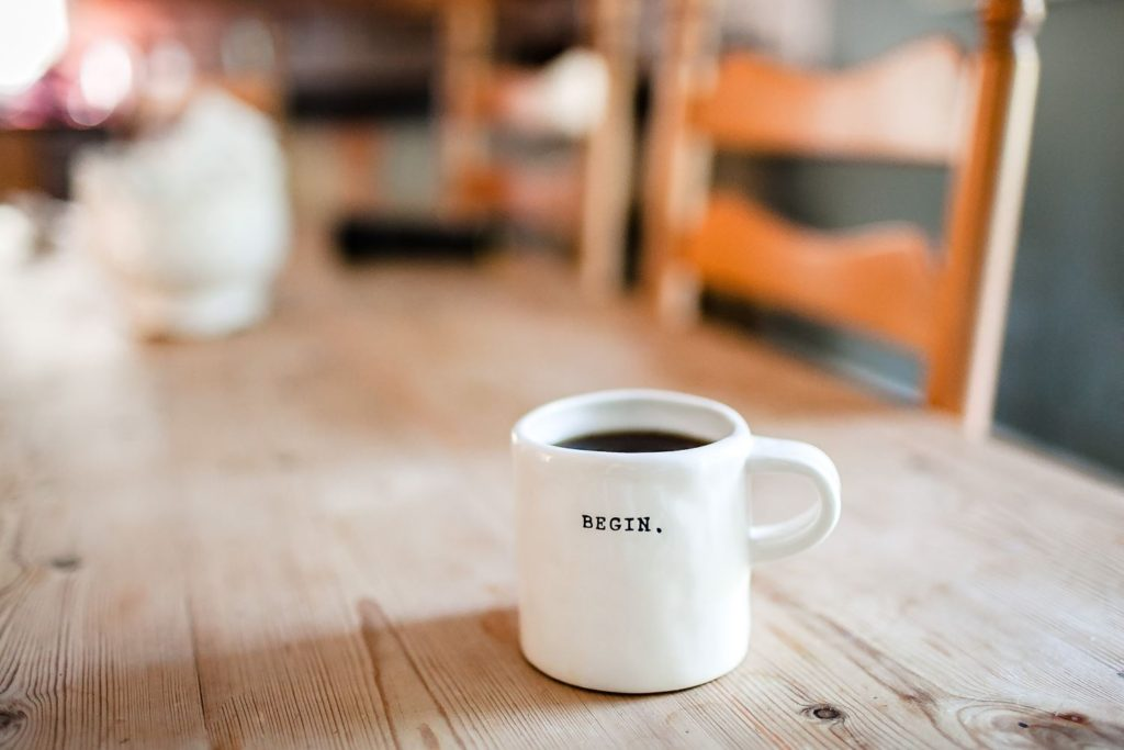 A photo of mug with 'begin' written on it. I love this mug! What a great message to have while you're drinking your coffee. Photo: Danielle Macinnes