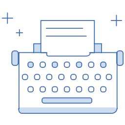 Copywriting. Illustration of a typewriter.