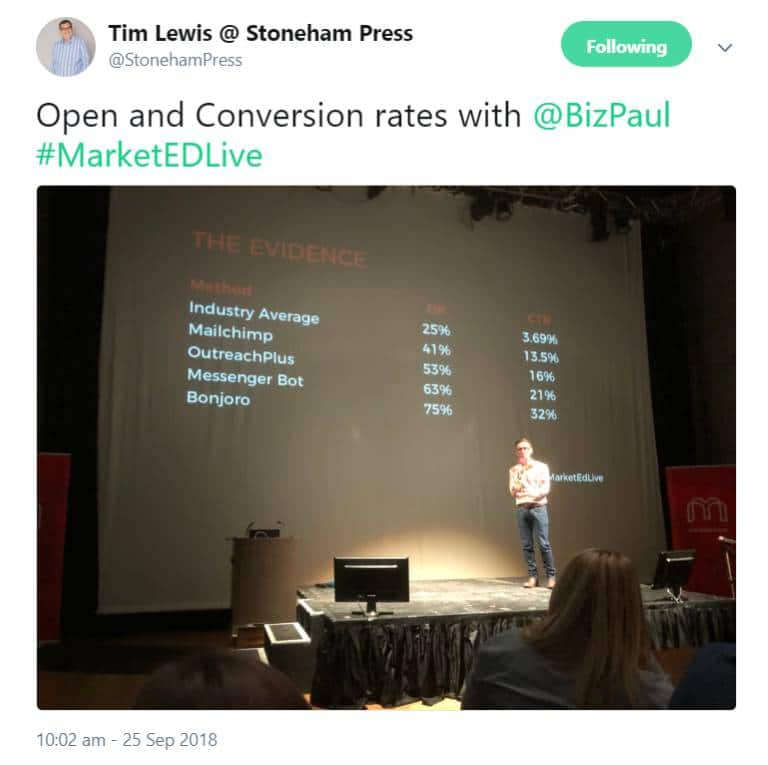 Paul Ince talks about open rates on stage at MarketEd.Live. Copy of tweet by Tim Lewis.