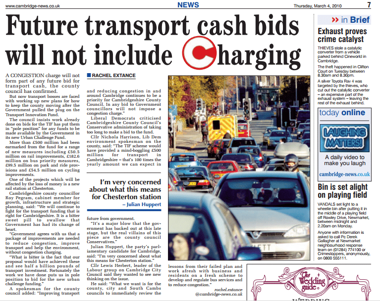 Future transport cash bids will not include charging
