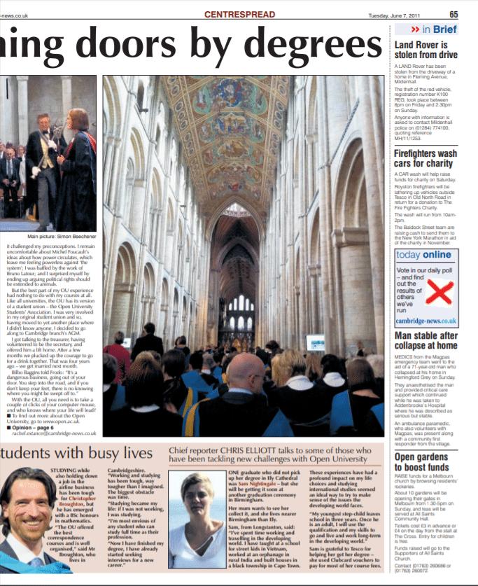 Open University graduation article for Cambridge News