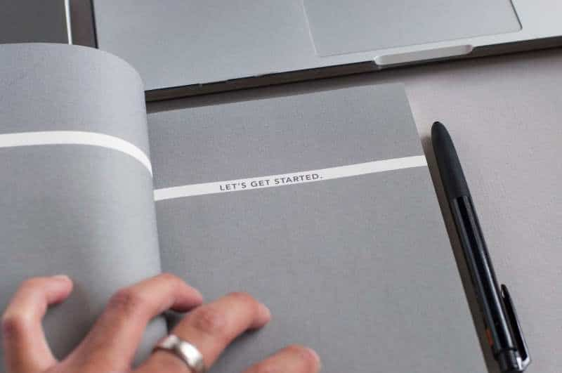 "Picture of a notebook with message saying ""let's get started"". (Photo: David Iskander)"