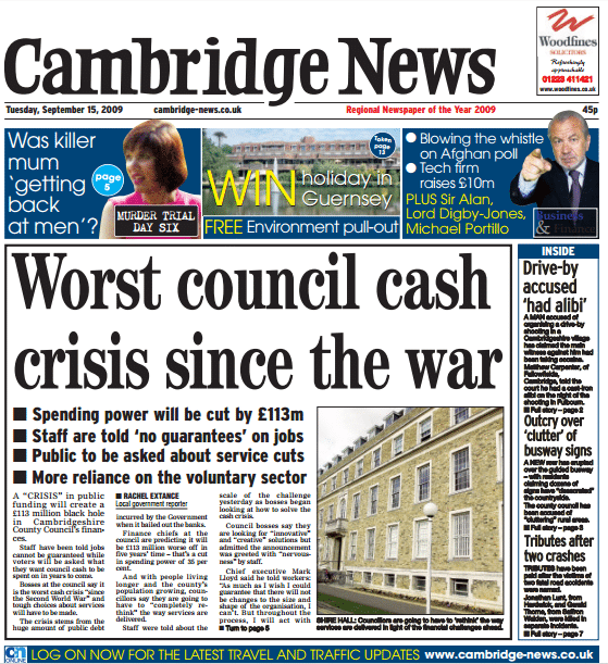 Worst Council Cash Crisis Since The War - Cambridge News front page