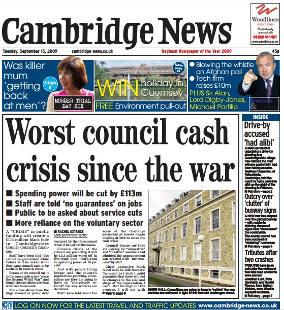 Worst Council Cash Crisis Since The War - Cambridge News front page