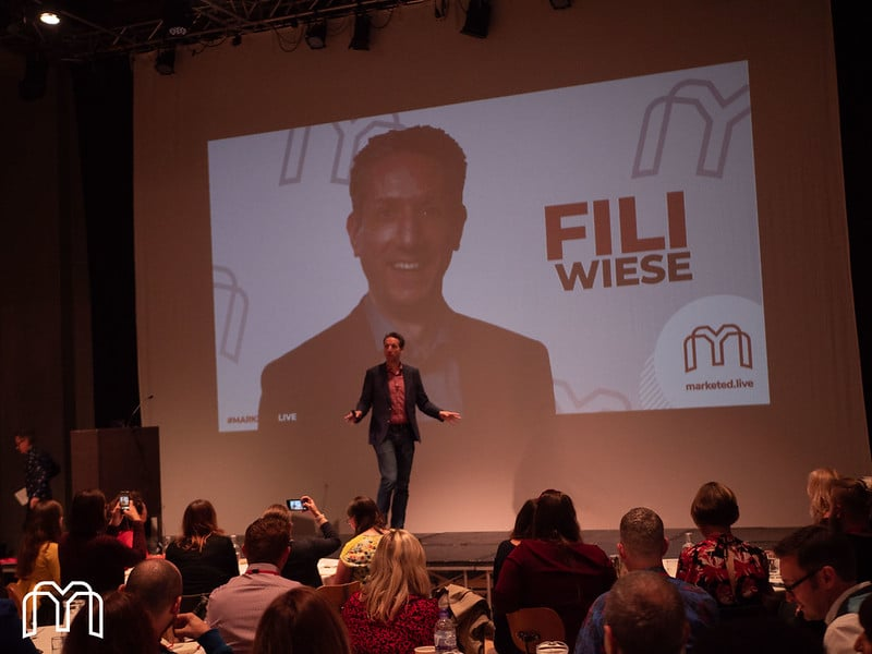 Fili Wiese on stage at MarketEd.Live. Photo by Mr Ladd Photography