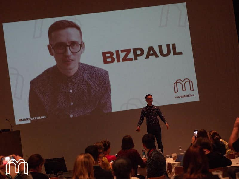 BizPaul on stage at Marketed.Live 2019