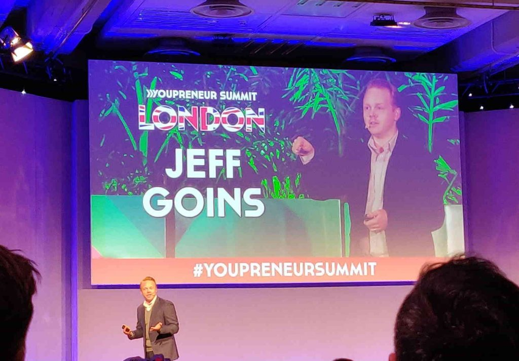 Jeff Goins on stage at the Youpreneur Summit