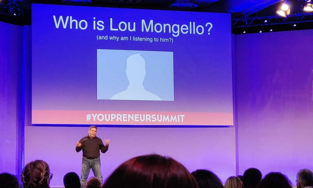 Lou Mongello speaking at Youpreneur Summit