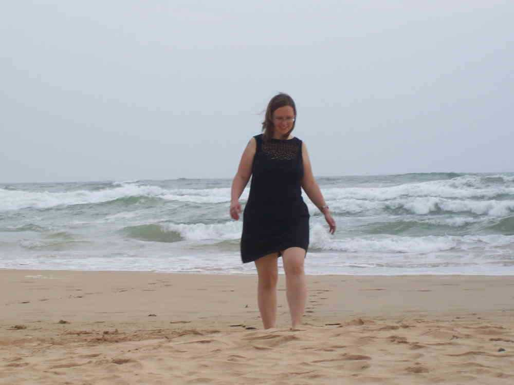 A photo of me walking on the beach on honeymoon in Sri Lanka