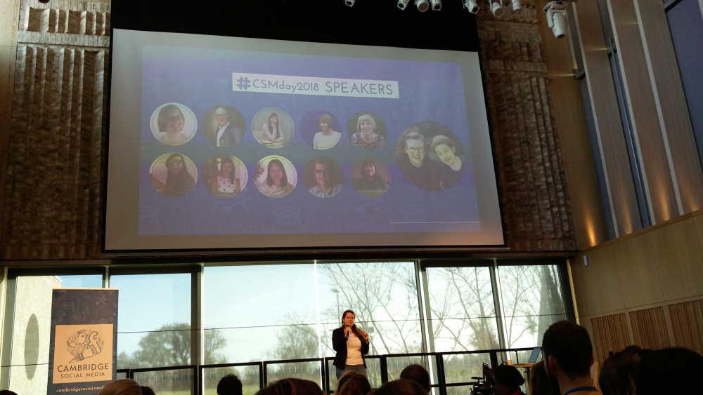 Lenka Koppová on stage at Cambridge Social Media Day 2018