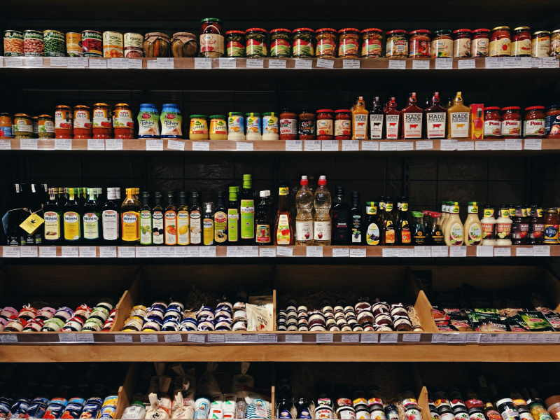 Supermarket shelves. Photo by Daria Volkova on Unsplash