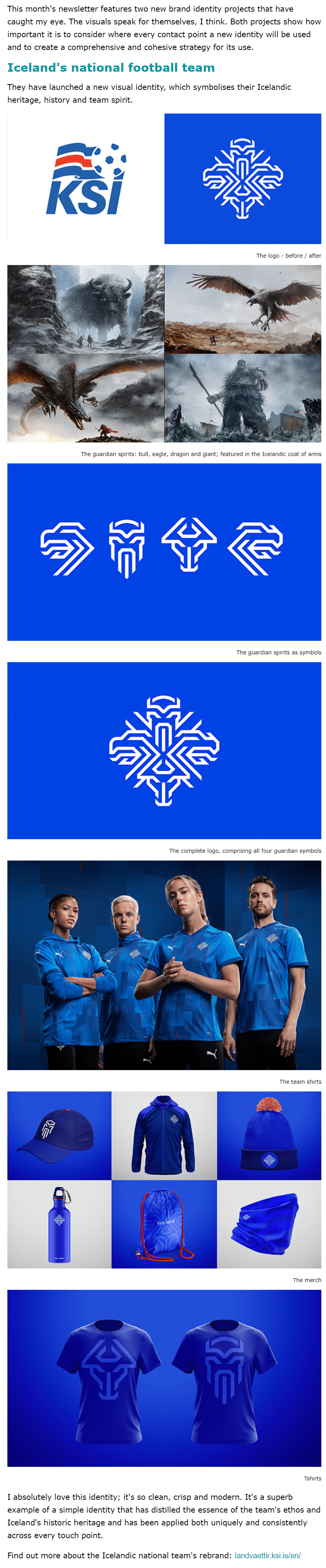 Excerpt from Karen Arnott's newsletter showing the Icelandic football team's visual identity
