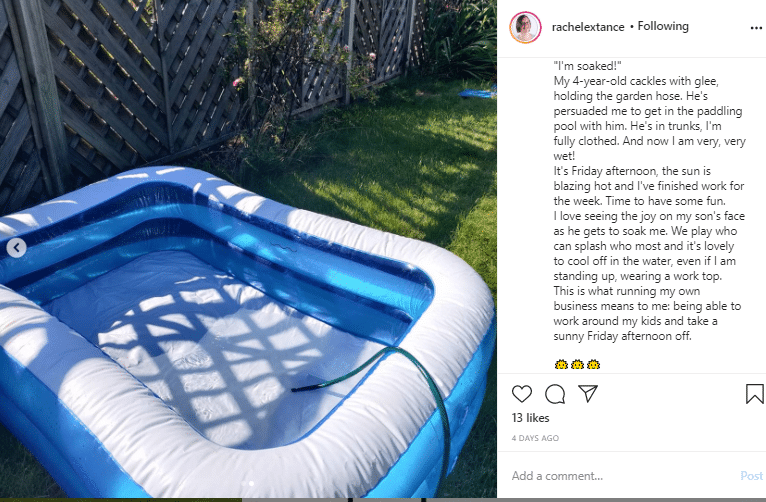 Instagram post on what makes you happy with a photo of a paddling pool
