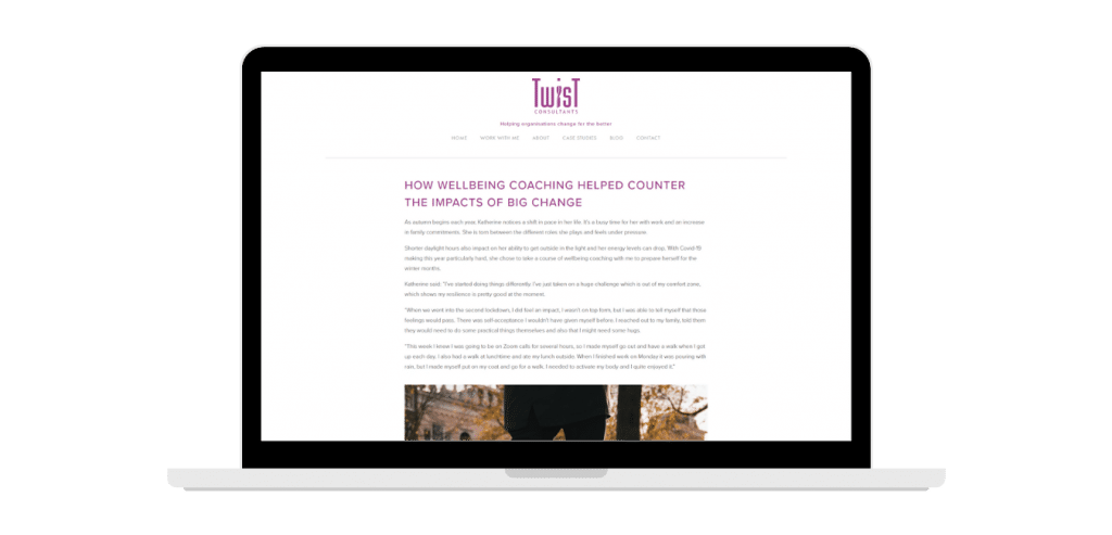 Screen shot of the case study on Twist Consultants' website