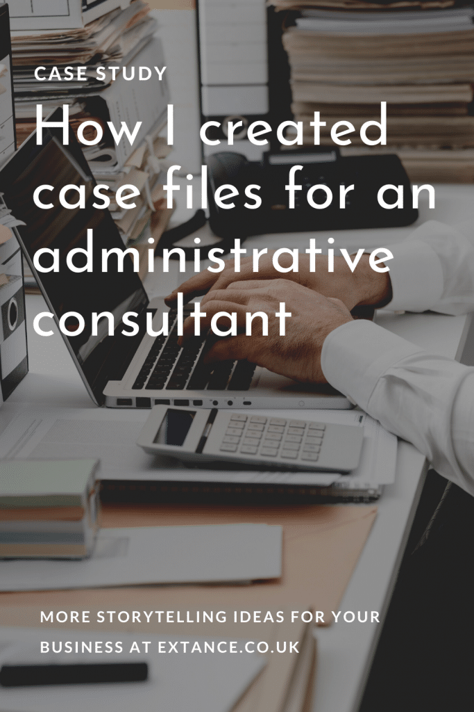 How I created case files for an administrative consultant Pinterest image