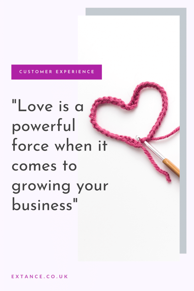 """Love is a powerful force for growing your business"" quote Pinterest image"