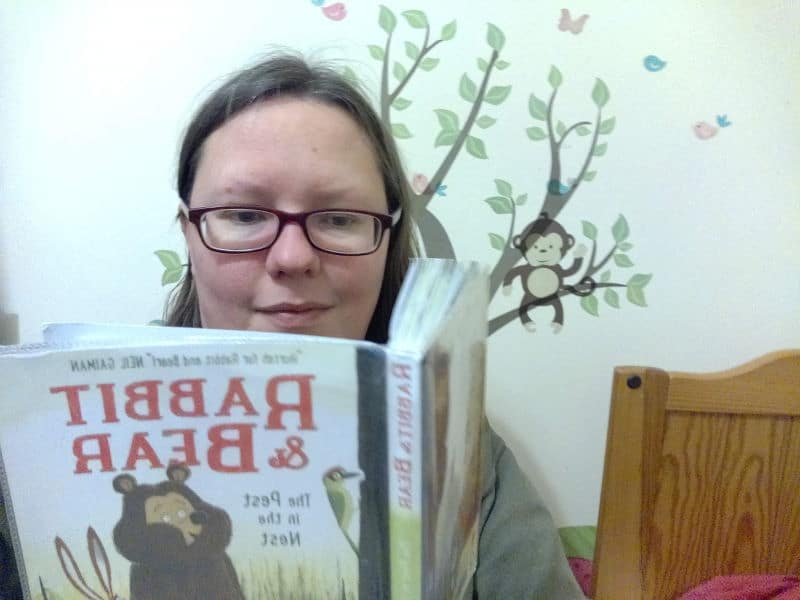Rachel Extance reading Rabbit And Bear The Pest In The Nest
