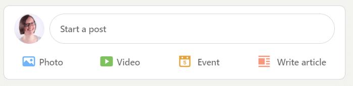 A screenshot of the 'start a post' box on LinkedIn