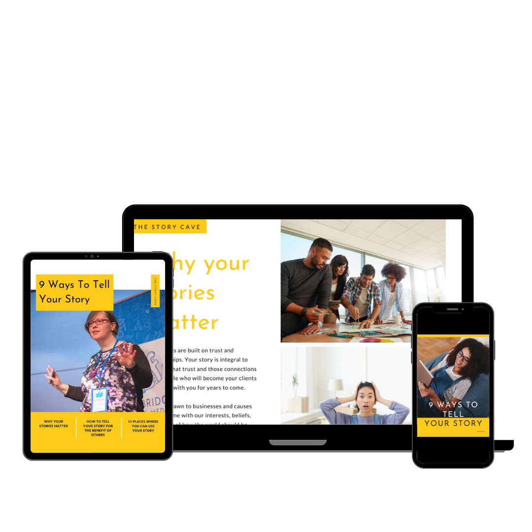 Mock up showing pages from 9 Ways To Tell Your Story on laptop, tablet and smartphone screens